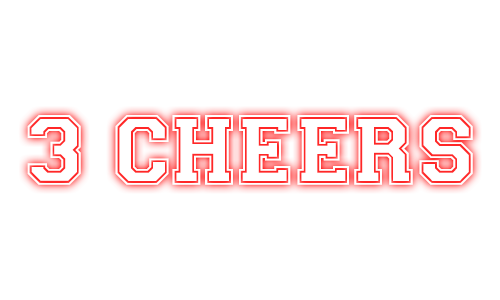 Logo with text: 3 Cheers