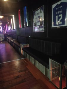 Image displaying seating on Level 1 which runs between the dancefloor and the main bar